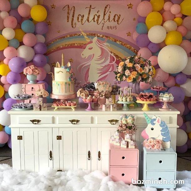 دکوراسیون و بادکنک آرایی رویایی جشن تولد دخترونه با تم یونیکورن (Unicorn)