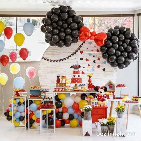 دکوراسیون و بادکنک آرایی زیبای جشن تولد دخترونه با تم مینی موس (Minnie Mouse)