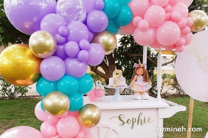 دیزاین جشن تولد دخترونه در فضای باز با تم یونیکورن پیشنهادی جالب برای برگزاری مراسم در باغ