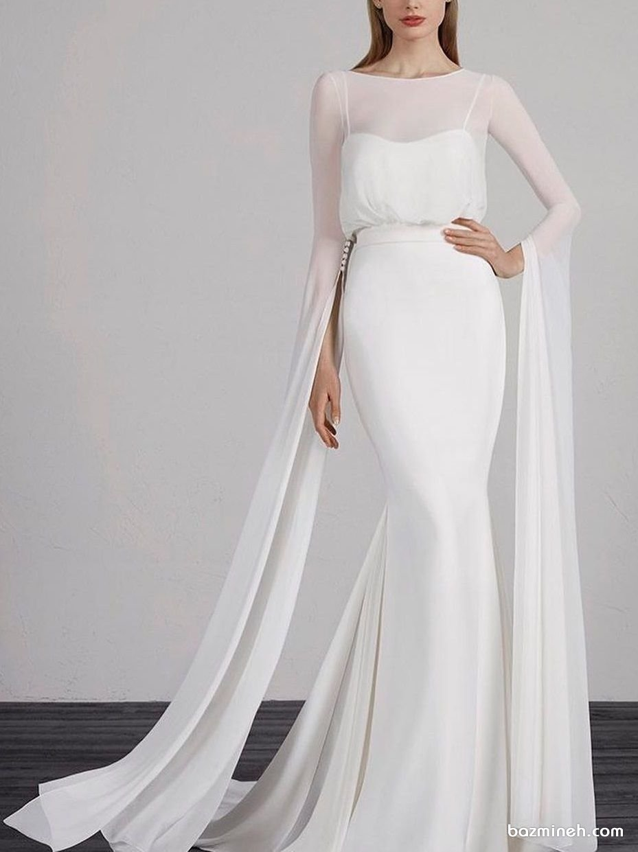 پیراهن عقد ساده و شیک با آستینهای بلند حریر چاک دار. مدلی زیبا برای عروس خانمها در مراسم فرمالیته