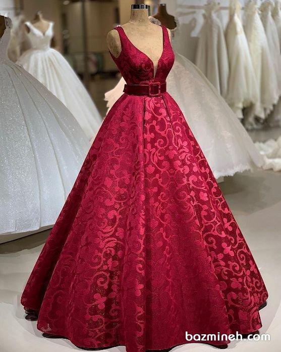 لباس نامزدی با دامن کلوش پفی قرمز رنگ
