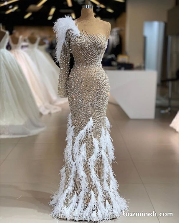 مدل لباس شب و نامزدی سنگدوزی و پر دوزی شده
