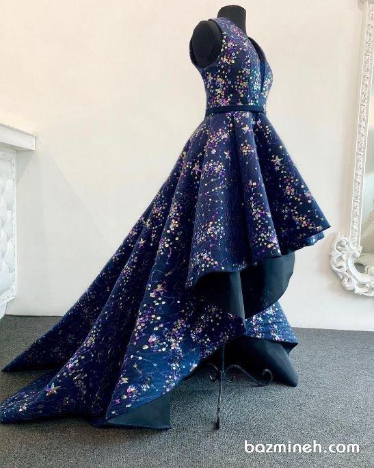 لباس مجلسی با دامن کلوش جلو کوتاه پشت بلند دنباله دار مدلی زیبا برای ساقدوشهای عروس