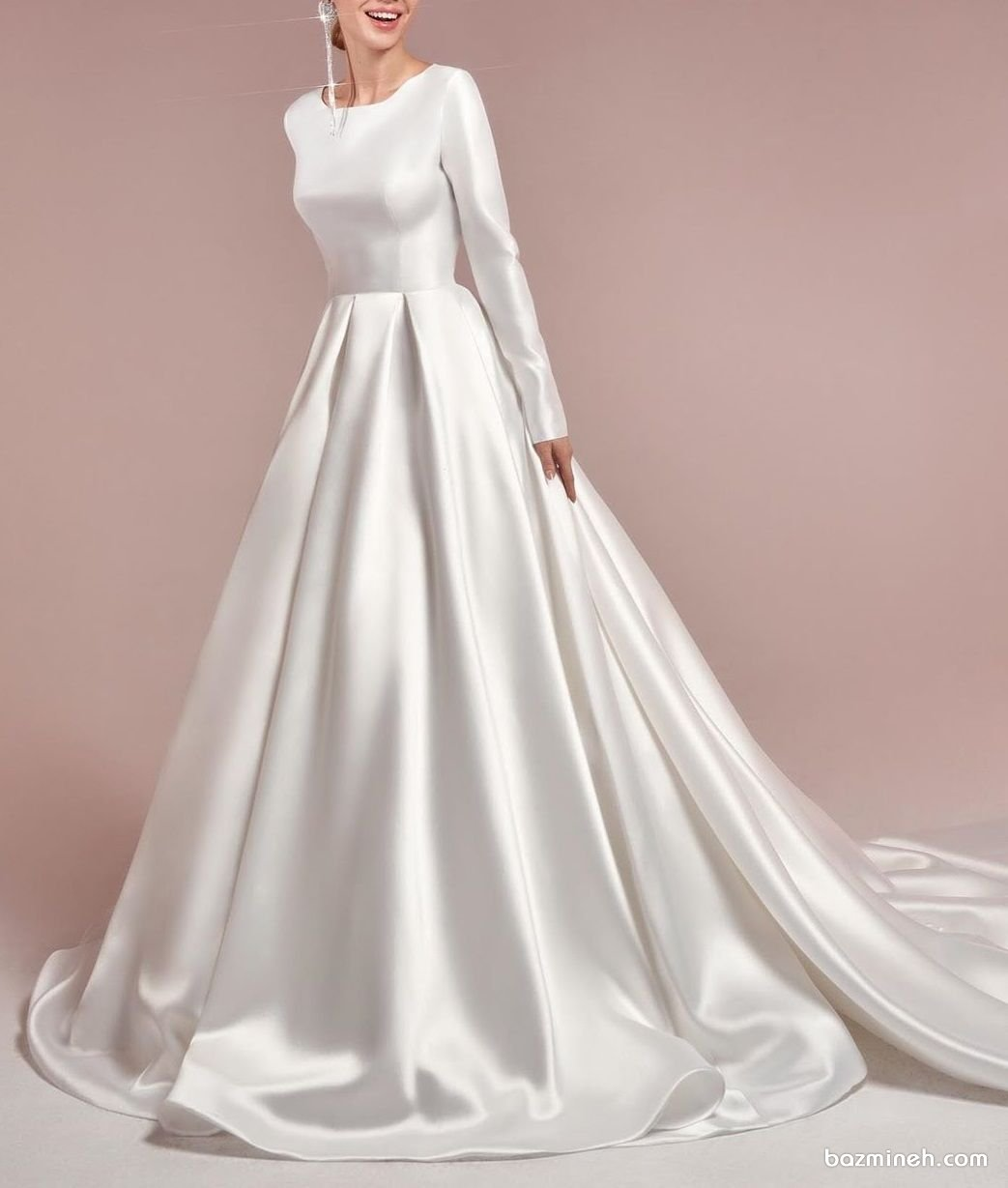 لباس عروس ساده و شیک پوشیده مدلی زیبا برای خانمهای ساده پسند در مراسم فرمالیته