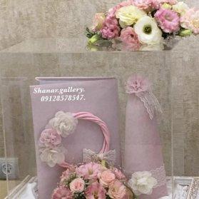 ست دفتر بله برون و کله قند مراسم بله برون همراه با گل آرایی