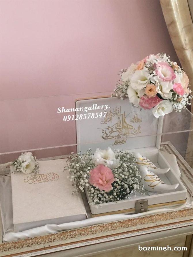 باکس شیشهای قرآن و گل، مخصوص هدایای بله برون