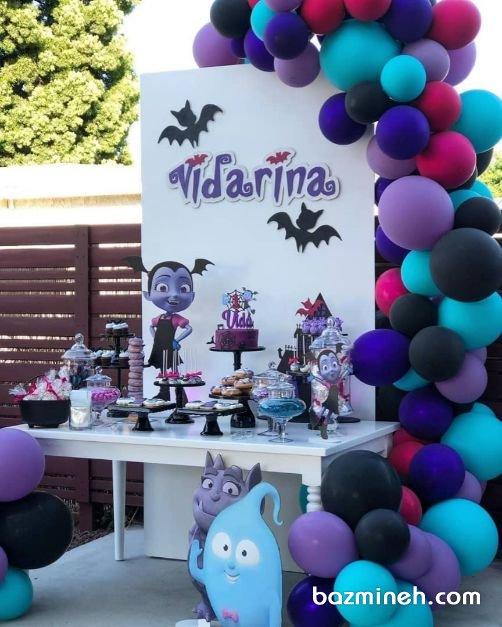 دکوراسیون و بادکنک آرایی زیبای جشن تولد دخترونه در فضای باز
