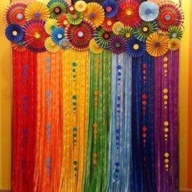 دکوراسیون شاد و رنگارنگ جشن تولد با کاغذهای رنگی گل های بادبزنی همراه با پارچه ها و تورهای رنگی می توانند طراحی بسیار زیبایی برای دکوراسیون جشن تولد باشند که هم از لحاظ هزینه بسیار مقرون به صرفه می باشند و هم از لحاظ رنگ بندی شما را دچار هیچ محدودیتی نمی کنند.