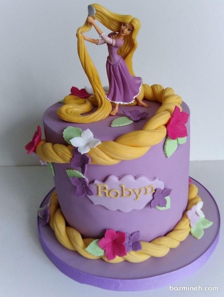 مینی کیک فوندانت جشن تولد دخترونه با تم راپونزل
