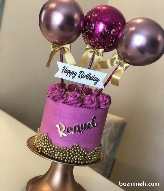 مینی کیک جذاب جشن تولد دخترونه با تم رنگی بنفش طلایی و تزیین بادکنک