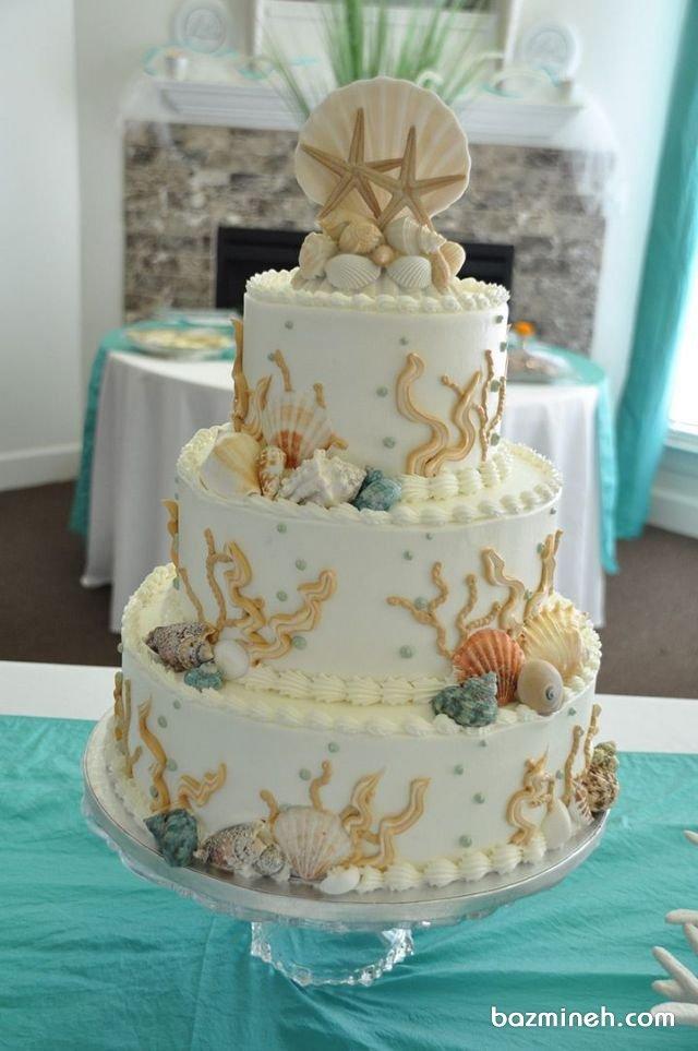 کیک سه طبقه جشن تولد بزرگسال با تم صدف و ستاره دریایی
