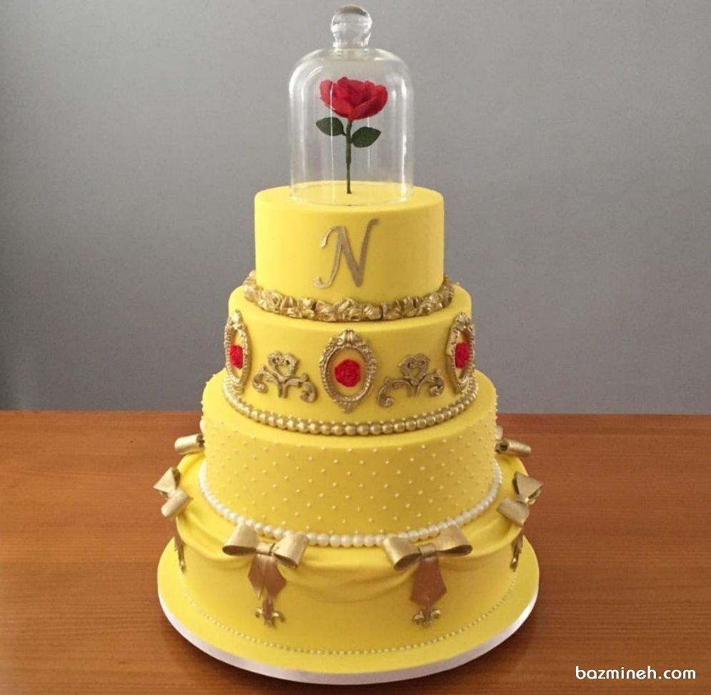 کیک چند طبقه جشن تولد دخترونه با تم دیو و دلبر