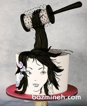کیک خلاقانه جشن تولد مناسب برای آرایشگرها