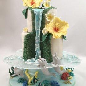 کیک چند طبقه متفاوت جشن تولد اگر از آن دسته افرادی هستید که خاص بودن و متفاوت بودن را بسیار می پسندید، این ایده را از دست ندهید و در تولد نامزد یا همسر خود از ان بهره ببرید. کیک متفاوت و جذاب که تلفیقی از کیک های فانتزی و کیک های ضدجاذبه است و با فوندانت تزیین شده است.