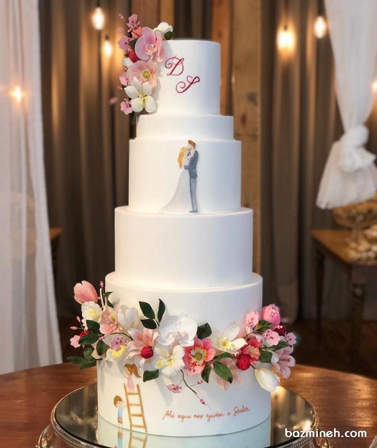 کیک چند طبقه فانتزی جشن نامزدی یا عروسی با تزیین گلهای مصنوعی  ایده های خاص و متفاوت برای کیک های عروسی و نامزدی بسیار جذاب هستند و باعث می شوند تا خاطره متفاوتی از عروسی شما در ذهن افراد باقی بماند. کیک عروسی یا نامزدی یا کیک عقد با تزئین عروس و داماد همراه با گل های شکری بسیار زیبا خواهد بود که می تواند در رنگهای متفاوت تزئین شود.