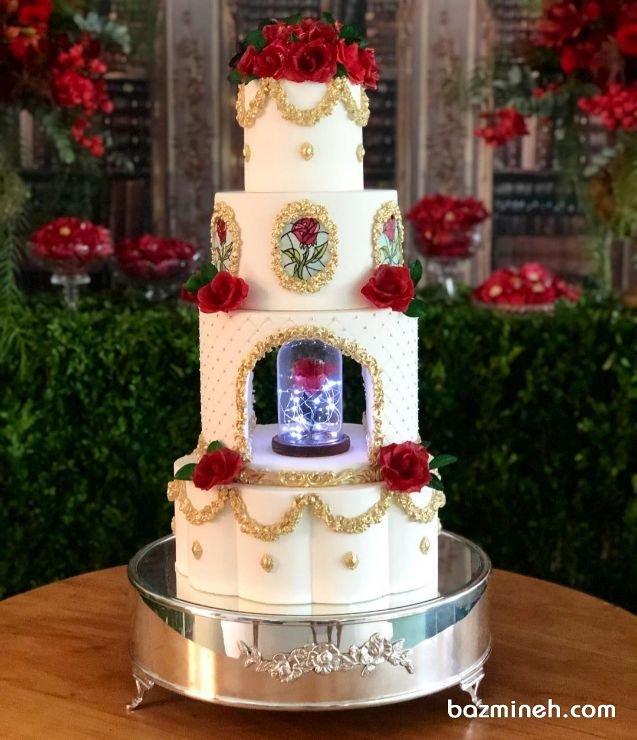 کیک چند طبقه خاص جشن نامزدی یا عروسی کیک های سورپرایزی از جمله کیک های بسیار جذاب هستند که می توان در جشن های نامزدی یا جلسات خواستگاری از آنها استفاده نمود و حلقه یا هر هدیه دیگری را در آنها پنهان نمود. در این ایده شکل دیگری از کیک های سورپرایزی را می بینید که برای جشن های نامزدی و عقد بسیار زیباست.