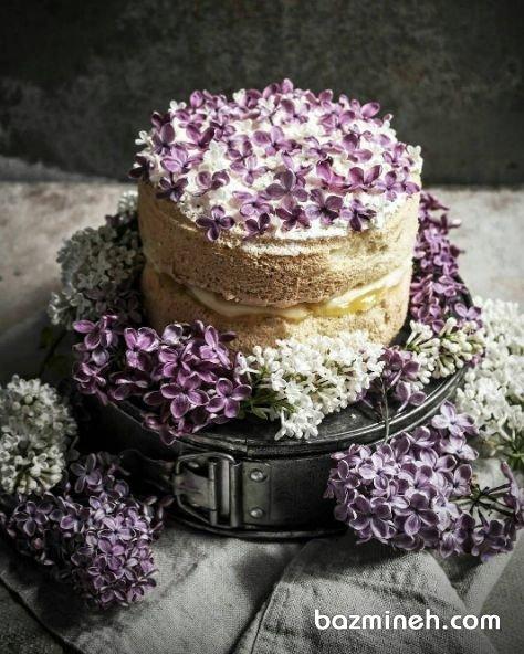 مینی کیک بدون روکش جشن تولد با تزیین گلهای طبیعی