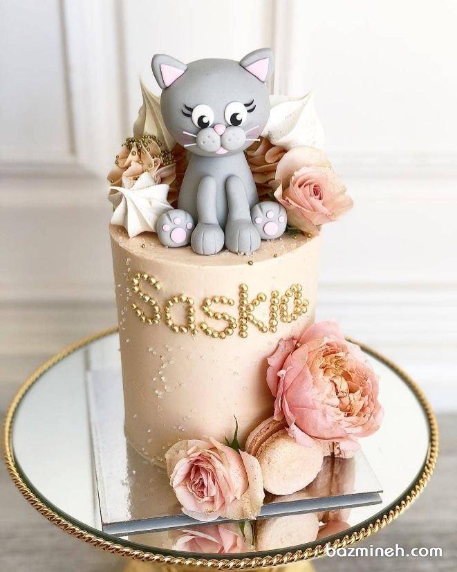 کیک یونیک جشن تولد کودک با تم گربه و تزیینات گل طبیعی و ماکارون تم های جانوران در تولدهای بچگانه بسیار پرکاربرد هستند. کیک فوندانتی زیبا با تزئین بچه گربه به همراه گل های شکری و ماکارون می تواند ایده جذابی برای تولدهای پسرانه باشد.