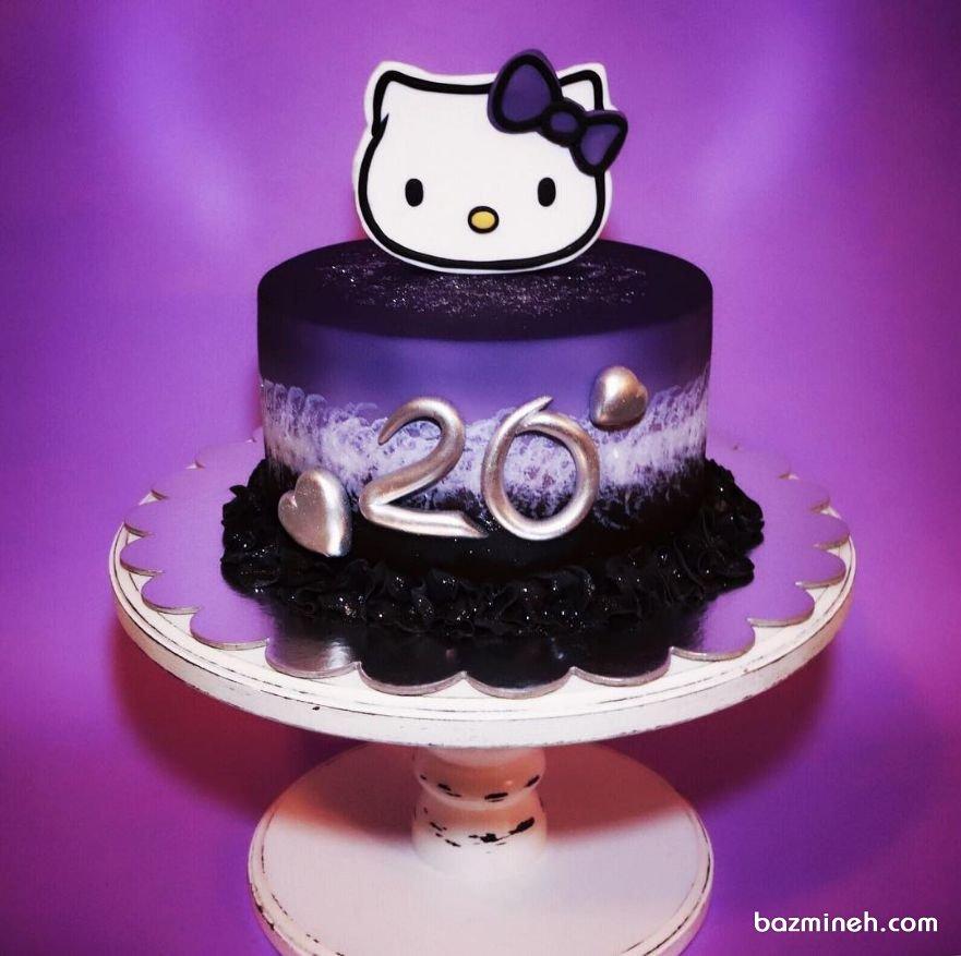 مینی کیک جذاب جشن تولد دخترونه با تم هلو کیتی (Hello Kitty) با تم رنگی مشکی بنفش