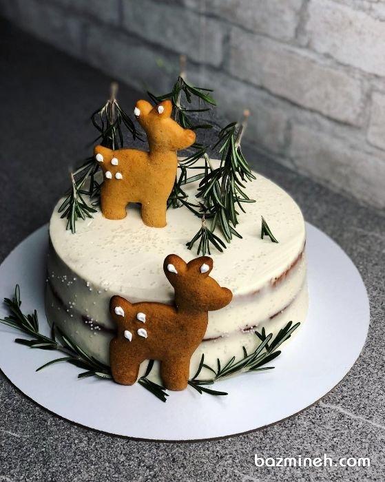 برخی از افراد، کیک های فوندانتی را به دلیل طعم خاصی که دارند نمی پسندند ار همین رو به دنبال کیک هایی با روکش خامه، باترکریم، شکلات یا آیسینگ های دیگر هستند. در کیک های خامه ای برای تزئین می توان از گل های شکری و عروسک های کوکی استفاده نمود. مینی کیک بدون روکش جشن تولد کودک با تزیین کوکی گوزن و تم زمستانی