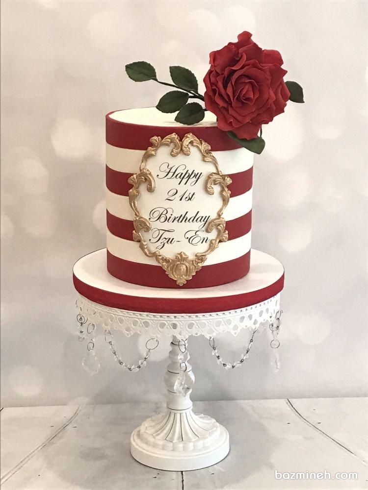 کیک فوندانت شیک جشن تولد بزرگسال با تم سفید قرمز