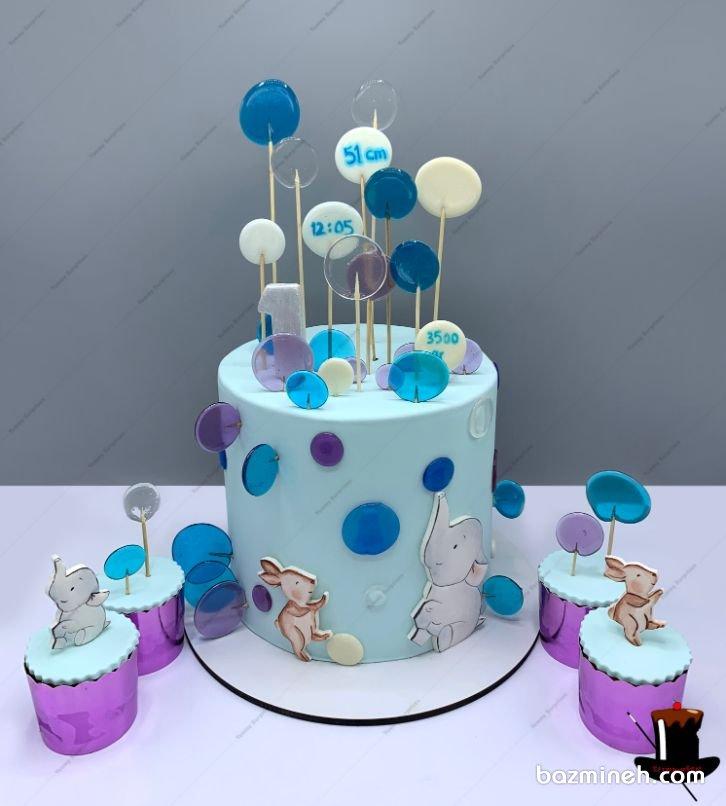 لالیپاپ های رنگی و شیشه ای برای تزئین کیک تولد و کیک بی بی شاور بسیار زیبا هستند که می توانند در رنگ های متنوع مرود استفاده قرار گیرند. کیک و کاپ کیکهای زیبای جشن تولد یکسالگی کودک یا جشن بیبی شاور پسرونه با تم فیل کوچولو