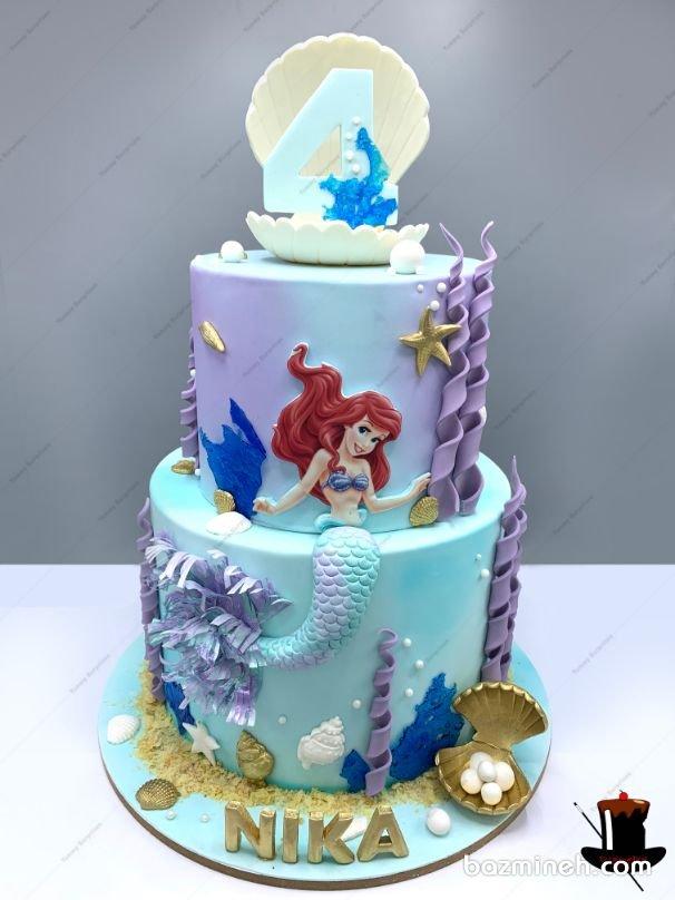 تم تولد پری دریایی در کنار تم تولد بالرین از جمله انتخاب های بسیار جذاب و زیبا برای جشن تولدهای دخترانه است. دکوراسیون پری دریایی معمولا در رنگ های فیروزه ای و صورتی و بنفش دیزاین می شود و کیک های پری دریایی با فوندانت و بسیار زیبا طراحی می شوند. کیک دو طبقه جذاب جشن تولد دخترونه با تم پری دریایی