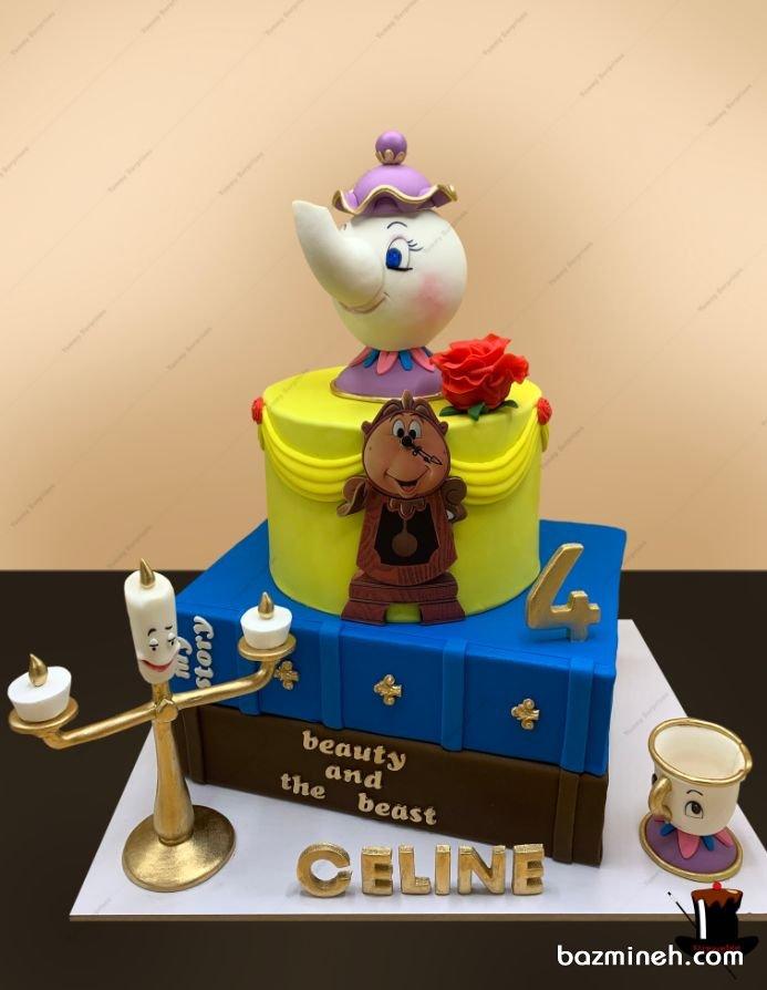 فوندانت برای کیک های تولد پسرانه و دخترانه و بزرگسال بسیار پرکاربرد است و دست شما را برای هر نوع خلاقیتی باز می گذارد. تم دیو و دلبر برای یک تولد دخترانه شیک و زیبا بسیار مناسب است. کیک فوندانت جشن تولد دخترونه با تم دیو و دلبر