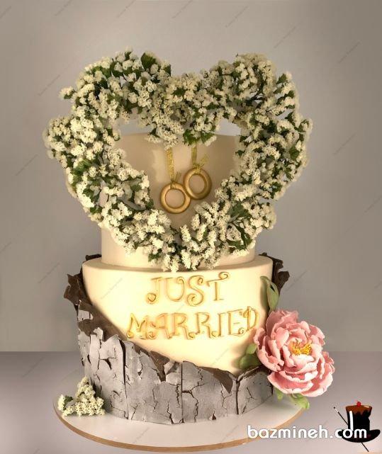 جشن هایی مانند جشن سالگرد ازدواج هیچ قالب خاصی ندارند ازین رو دست شما برای به خرج دادن هرنوع خلاقیتی باز است و میتوانید کیک سالگرد ازدواج را در هر رنگ و با هر دکوراسیونی انتخاب نمایید. در این ایده، کیک یونیک جشن نامزدی یا سالگرد ازدواج را مشاهده می نمایید.