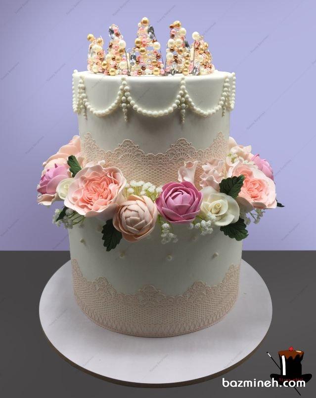 گیپورهای خوراکی در دیزاین کیک هایی مانند کیک عروسی و کیک نامزدی بسیار پرکاربرد هستند و هم چنین برای کیک های رویال ایسینگ نیز مورد استفاده قرار می گیرند. کیک دو طبقه جشن نامزدی یا عروسی با طرح گیپور و تزیین گل و مروارید