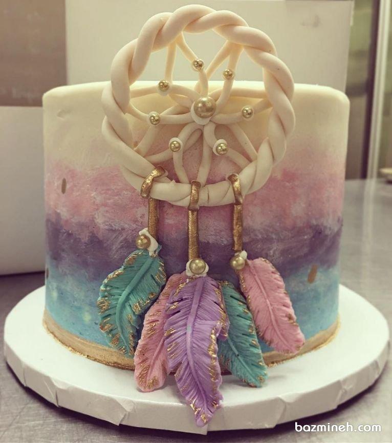 تم دریم کچر برای تولد بزرگسال یکی از تم های تولد مدرن و زیباست که در رنگ های متفاوتی دیزاین می شود. کیک رویایی جشن تولد بزرگسال با تم دریم کچر را مشاهده می کنید که در رنگ های زیبای آبی و بنفش طراحی شده است و با روکش فوندانت اجرا گردیده.