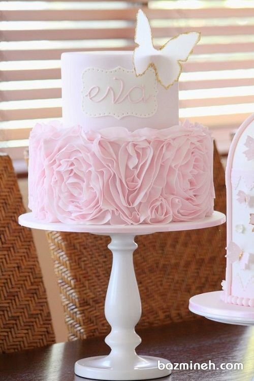 کیک رمانتیک جشن تولد دخترونه با تم رنگی صورتی سفید
