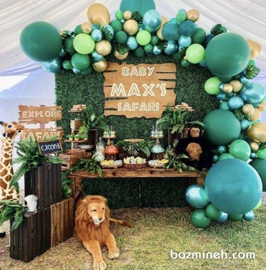 دکوراسیون و بادکنک آرایی هیجان انگیز جشن تولد کودک با تم جنگل