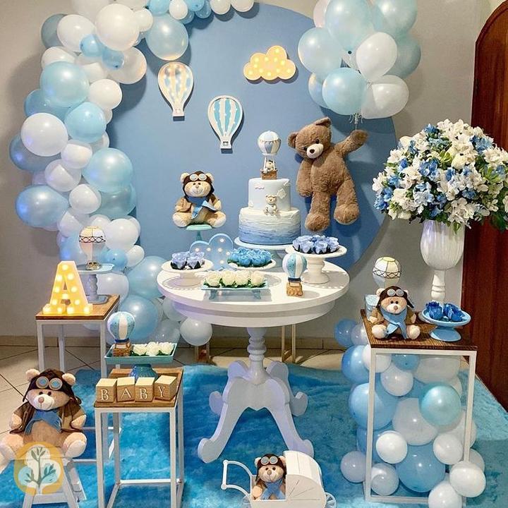دکوراسیون و بادکنک آرایی تشریفات جشن تولد کودک رها با تم خرس تدی و بالن
