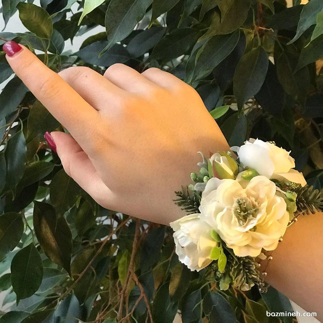 مچبند عروس از گل طبیعی مناسب مراسم عقد و نامزدی