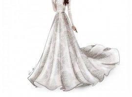 طراحی یک لباس عروس شیک و رویایی