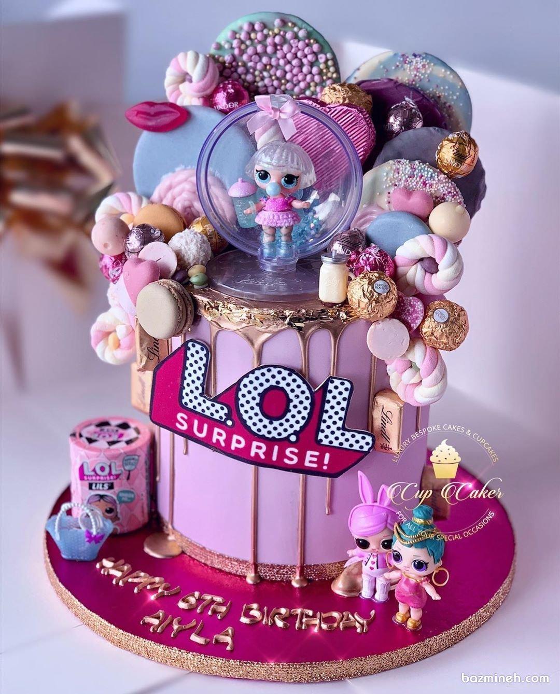 کیک تولد دخترانه LOL با تم صورتی