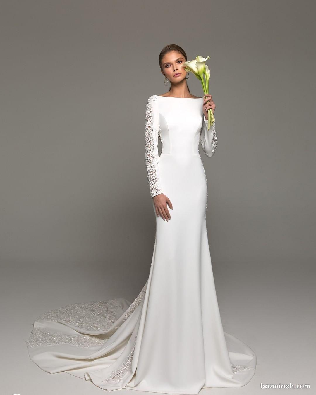 تناسب لباس عروس با اندام عروس و دسته گل