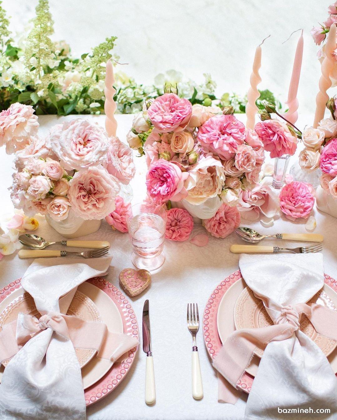 دکور و گل آرایی عروسی  تزیین میز پذیرایی در فضای باز